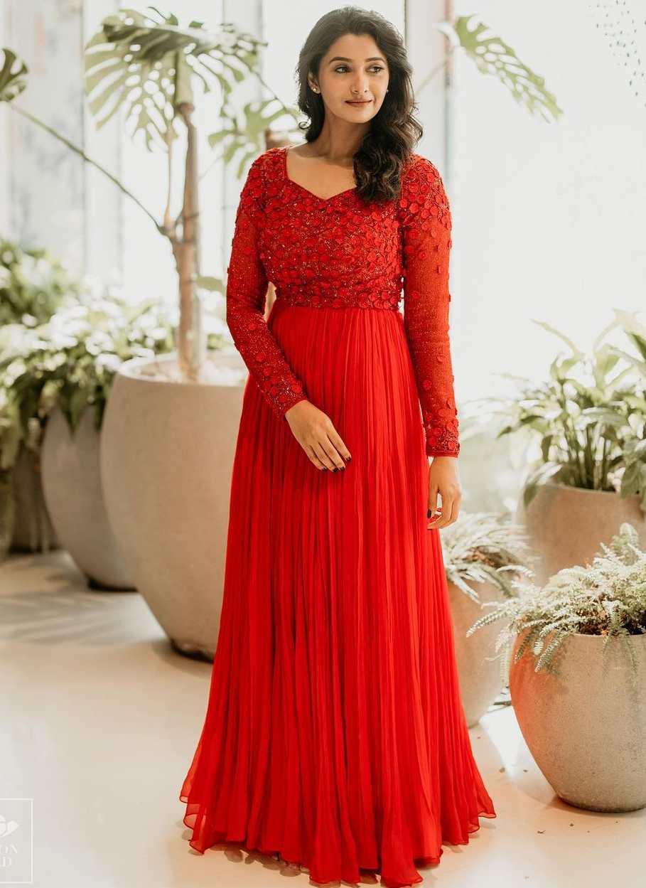 priya bhavani shankar red maxi dress evening gown