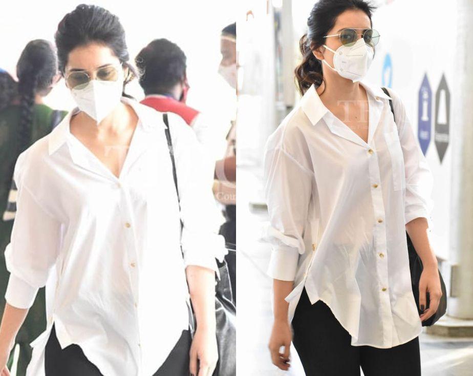 raashi khanna at hyderabad airport shirt and pants