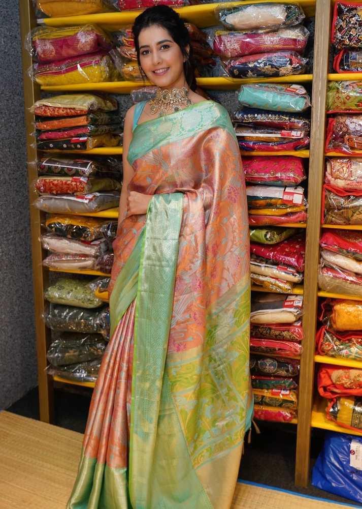 raashi khanna peach orange green silk saree