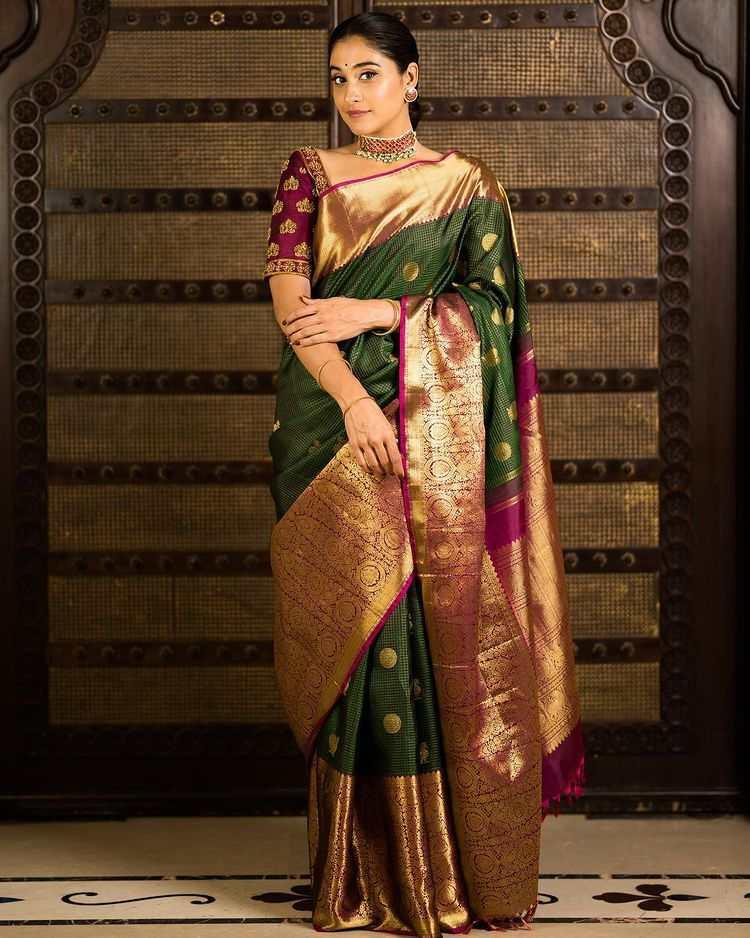 regina cassandra in green silk pattu saree