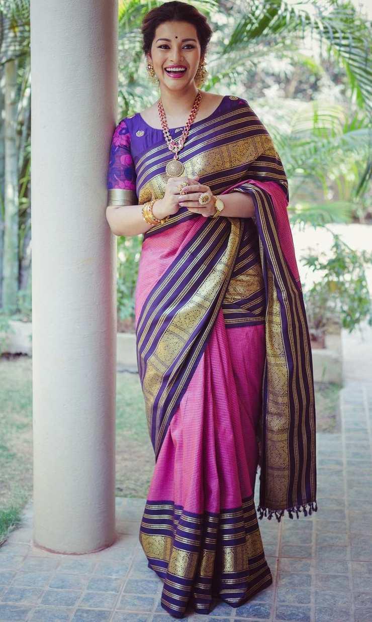 renu desai pink kanjeevaram saree by bhargavi kunam