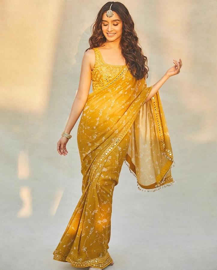 Shraddha kapoor in yellow saree from albel arpita mehta