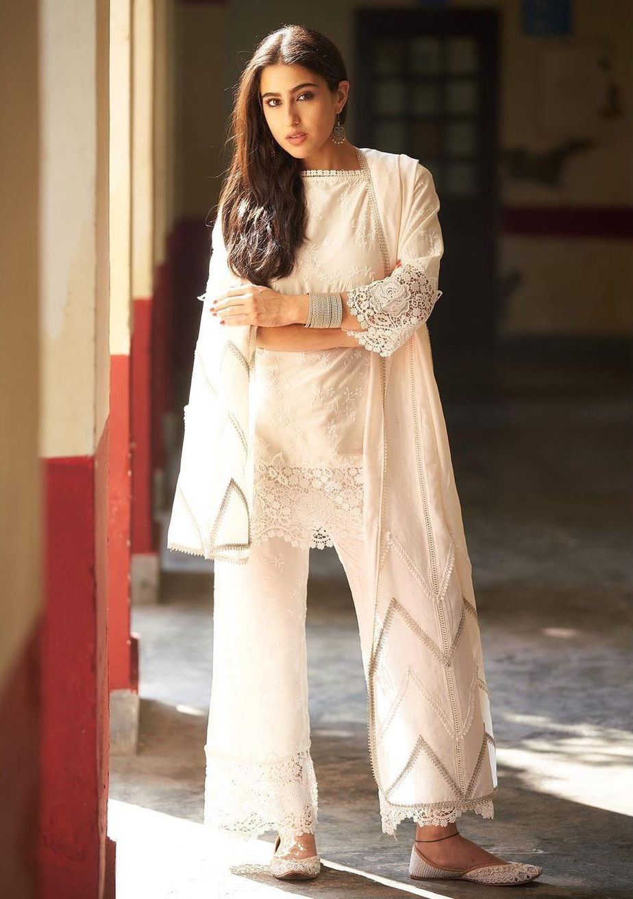 Sara Ali Khan in an Ivory white palazzo set