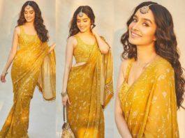 shraddha kapoor in yellow saree