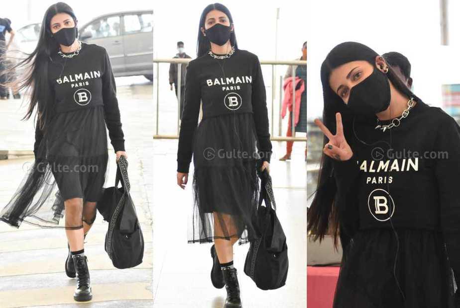 shruthi haasan airport look in black