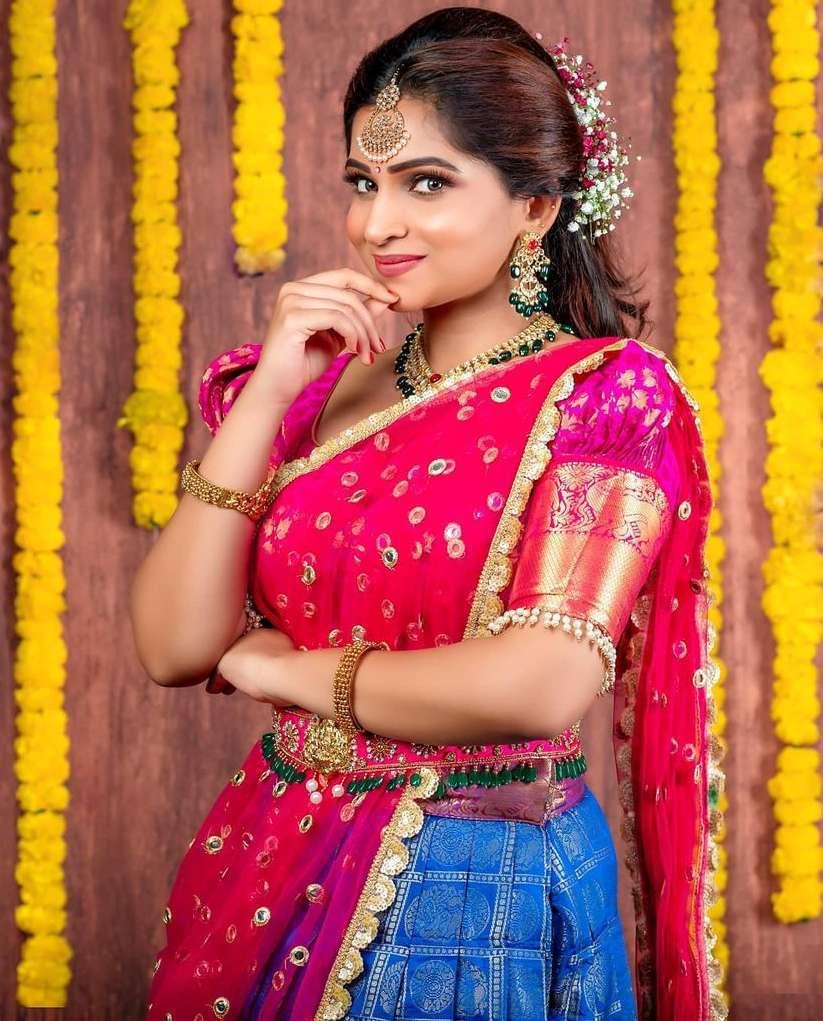 south indian traditional half saree lehenga pink blue