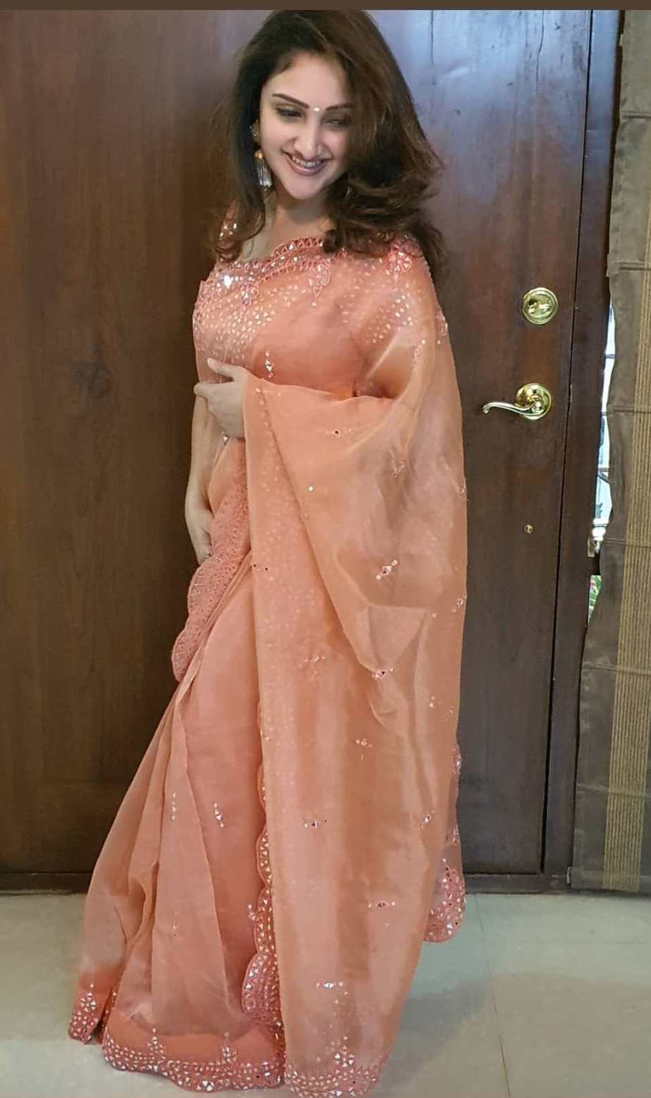 sridevi vijaykumar in glittery organza saree