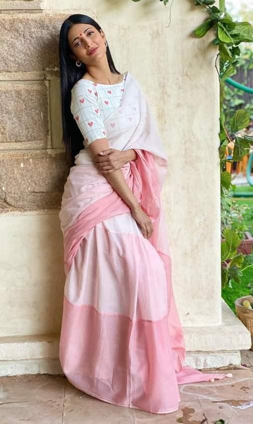 sruthi haasan pink ombre saree by kaluva