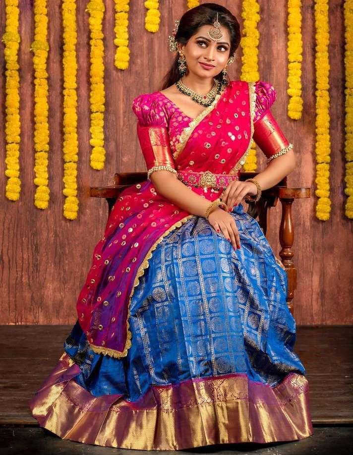 traditional pink blue silk half saree lehenga