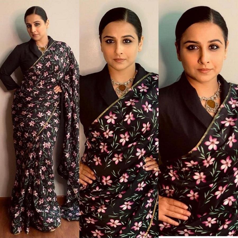 vidya balan in midnight blush saree by the Haelli
