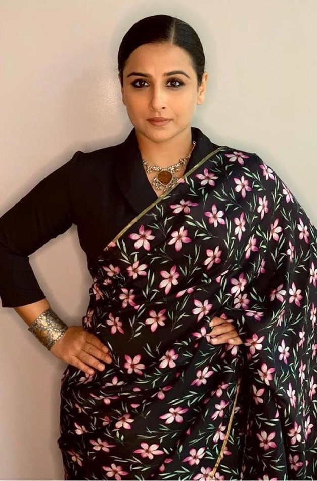 Vidya Balan looks ravishing in a Midnight Blush saree from The Haelli!
