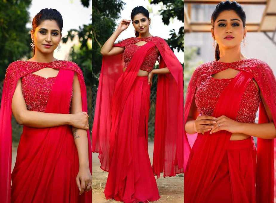 varshini sounderajan in pink saree with cape