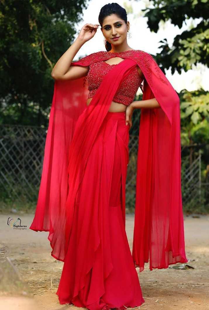varshini sounderajan pink pre-draped saree with cape