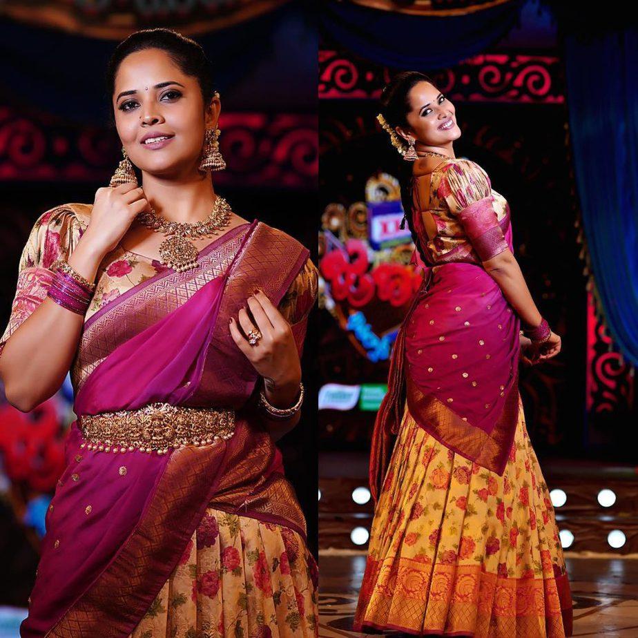 Anasuya Bharadwaj in half saree for Makar Sankranti episode of Jabardast