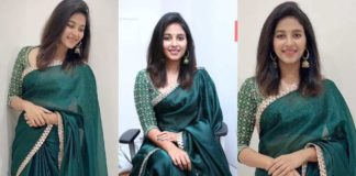 Anjali in green saree by issa studio for fortune 99 homes grand opening-featured