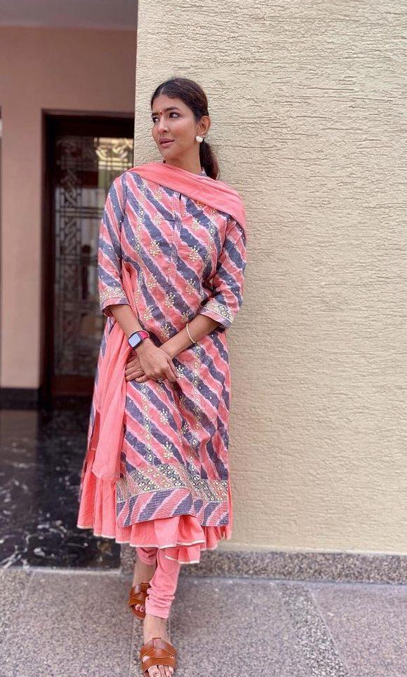 Lakshmi Manchu in a peach biba salwar suit at tirupati