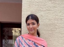 Lakshmi Manchu in a peach biba salwar suit at tirupati2