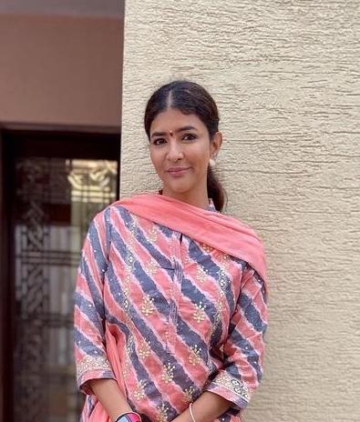 Lakshmi Manchu in a peach biba salwar suit at tirupati2