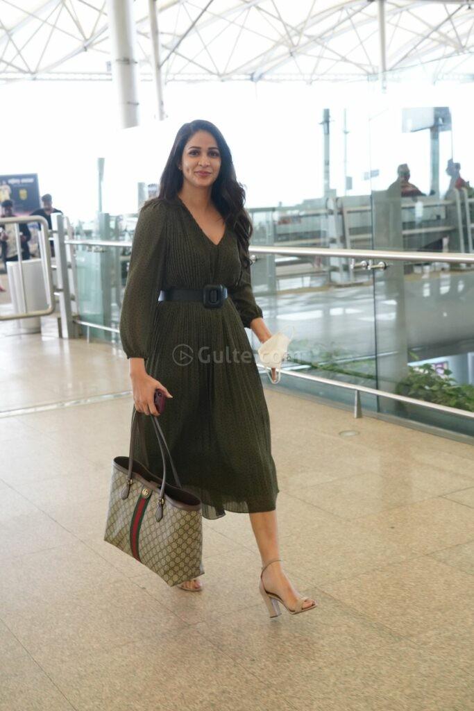 Lavanya tripathi in khaki colour belted dress at RGI