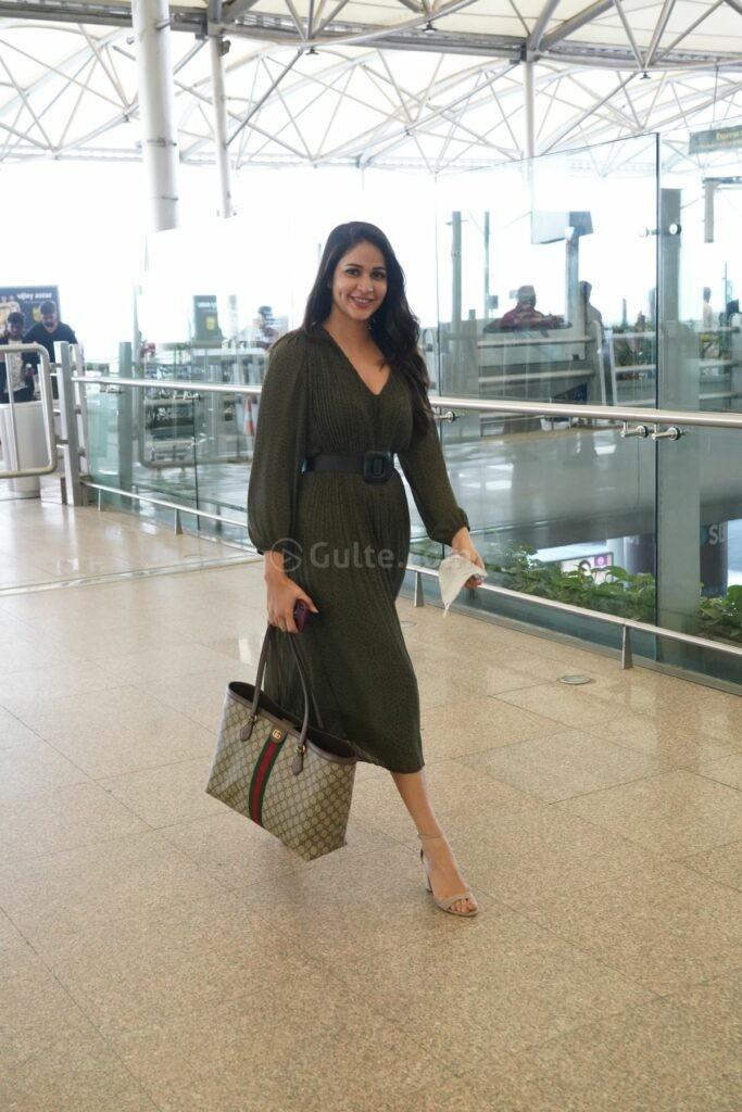 Lavanya tripathi in khaki colour belted dress at RGI1
