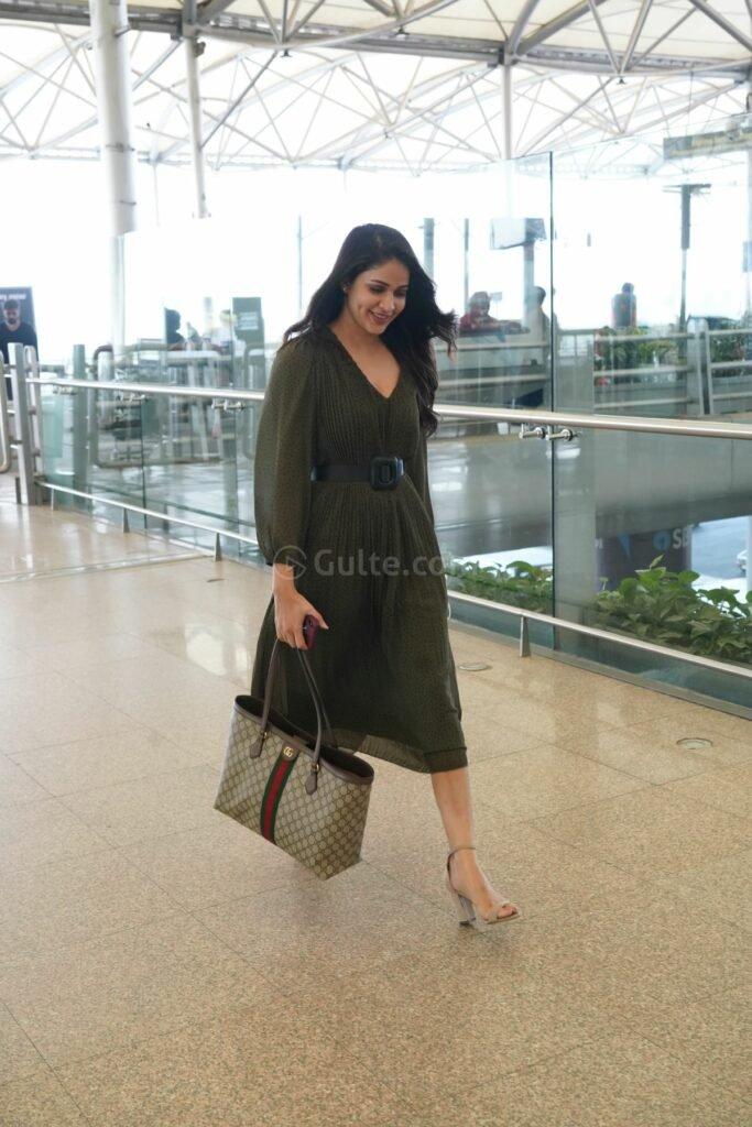Lavanya tripathi in khaki colour belted dress at RGI2
