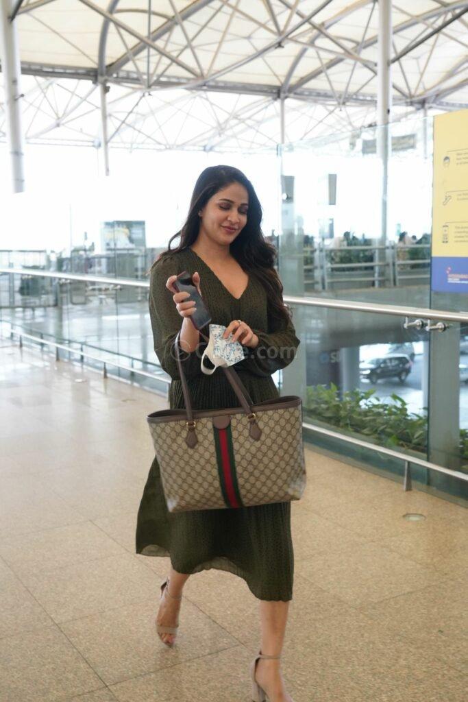 Lavanya tripathi in khaki colour belted dress at RGI4