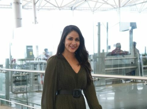 Lavanya tripathi in khaki colour belted dress at RGI5