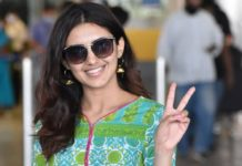 Malavika Sharma at airport in green kurta and white palazzo pant