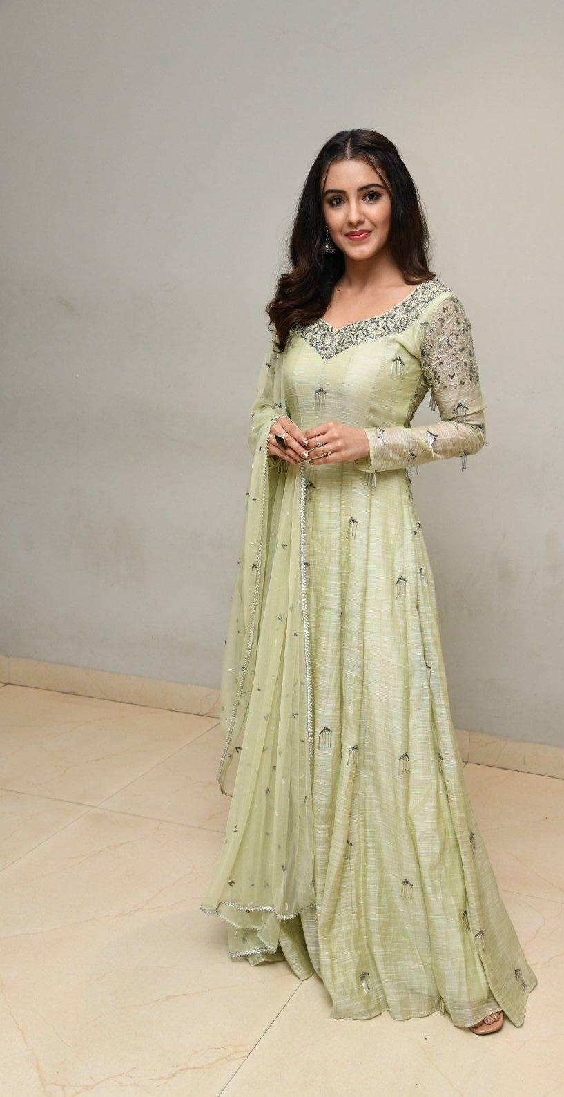 Malvika Sharma in a light green anarkali at my south diva calendar 2021 launch