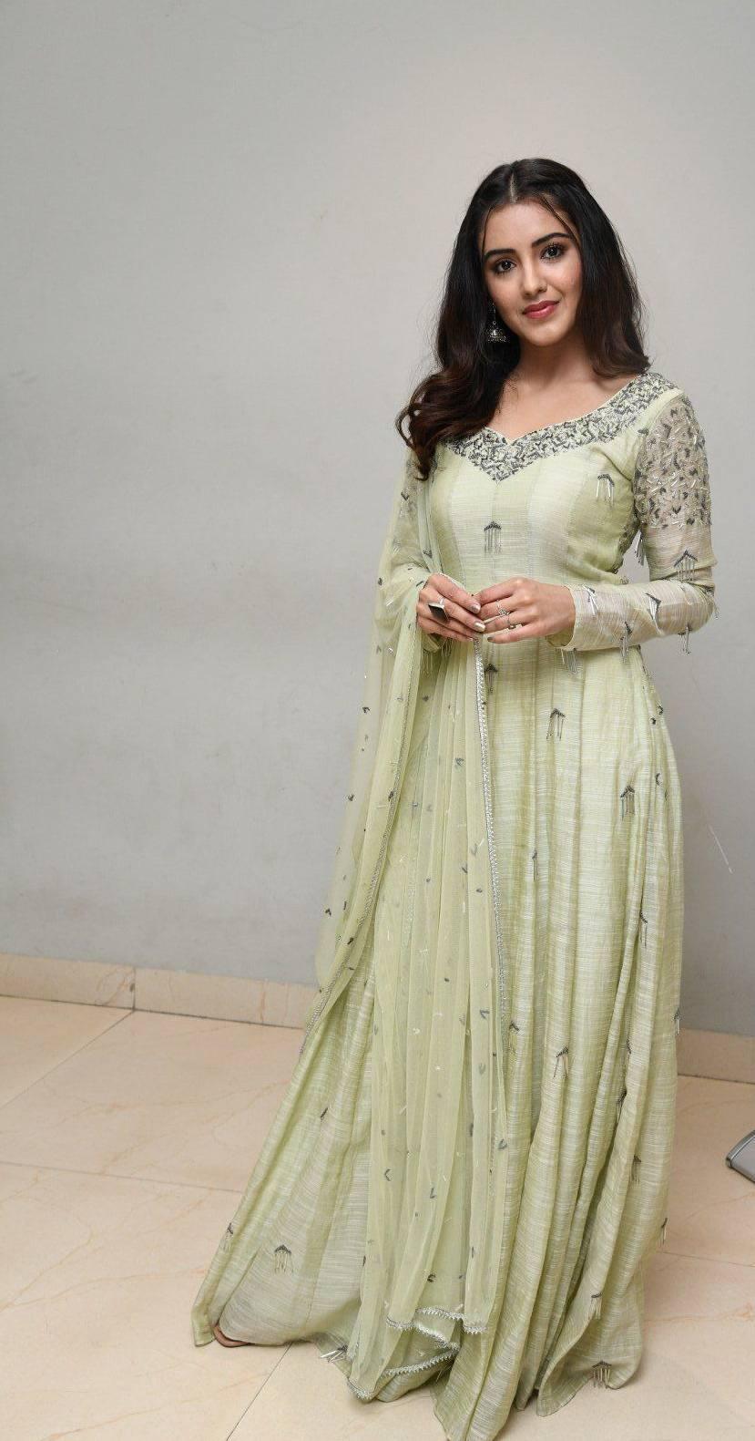 Malvika Sharma in a light green anarkali at my south diva calendar 2021 launch1