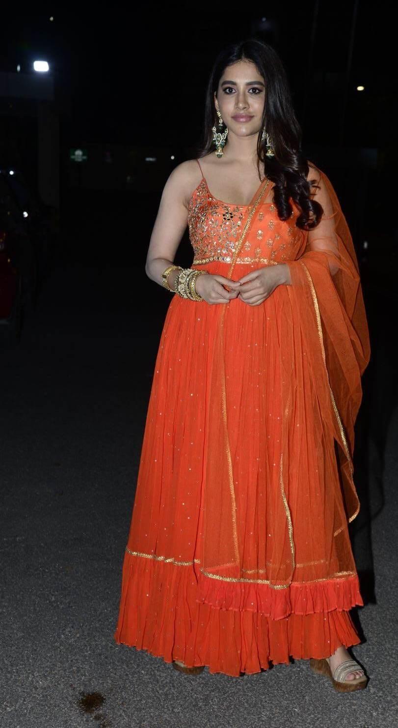 Nabha Natesh in orange anarkali for alludu adhurs success meet1