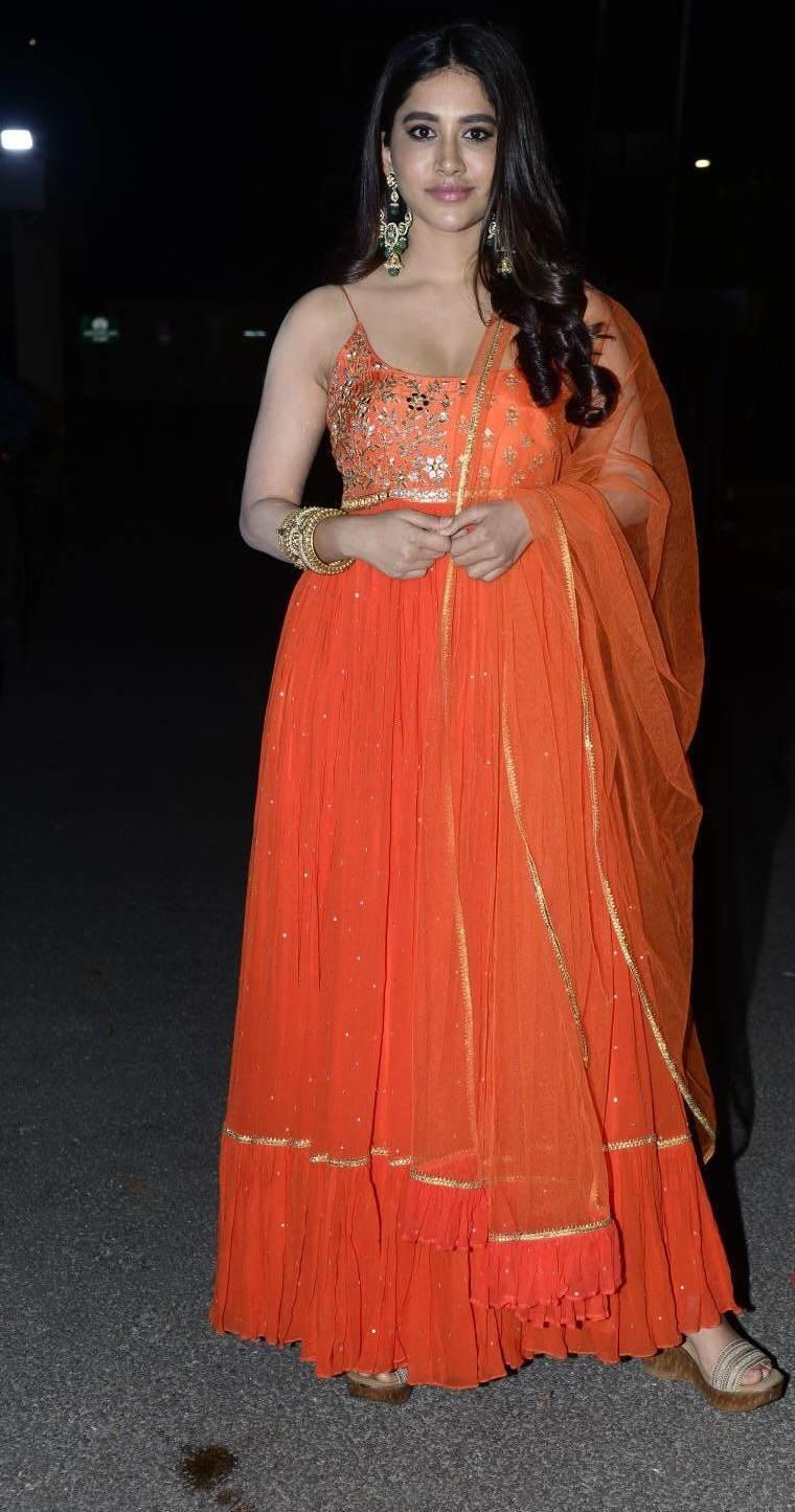 Nabha Natesh in orange anarkali for alludu adhurs success meet2