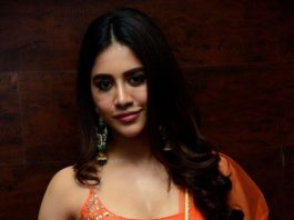 Nabha Natesh in orange anarkali for alludu adhurs success meet5