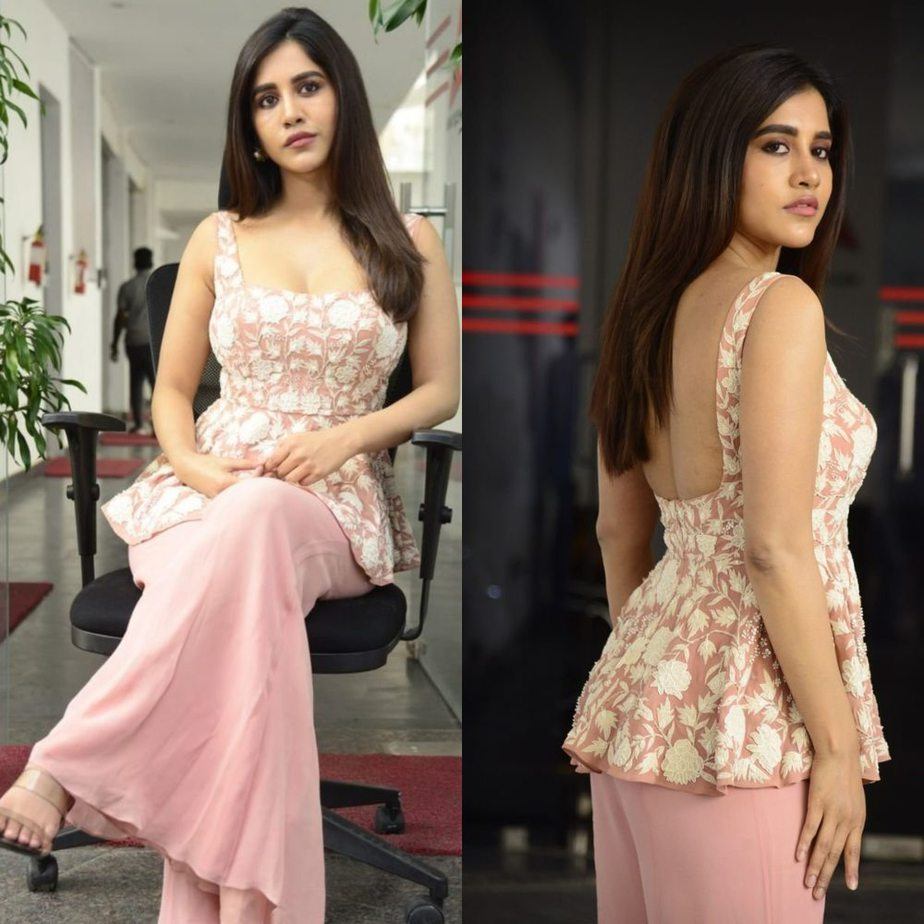 Nabha Natesh in pink top and palazzo pant for alludu adhurs interview