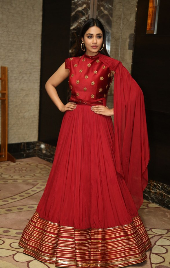 Nivetha Pethuraj in a red ensemble at red pre release event2