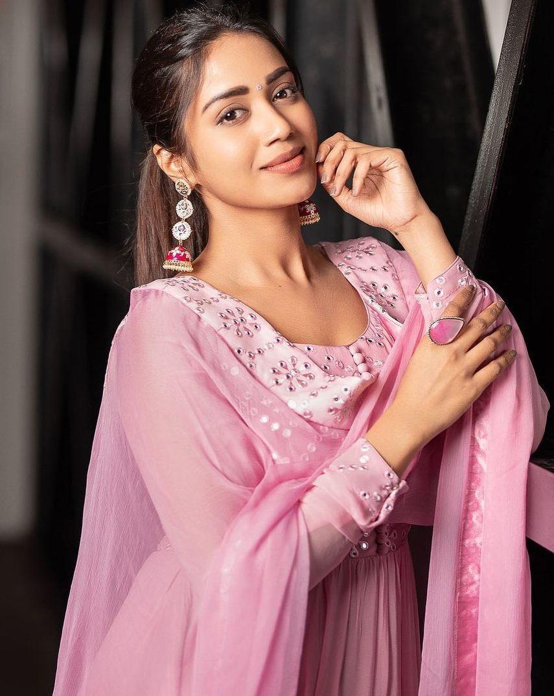 Nivetha Pethuraj in baby pink anarkali by indishree label
