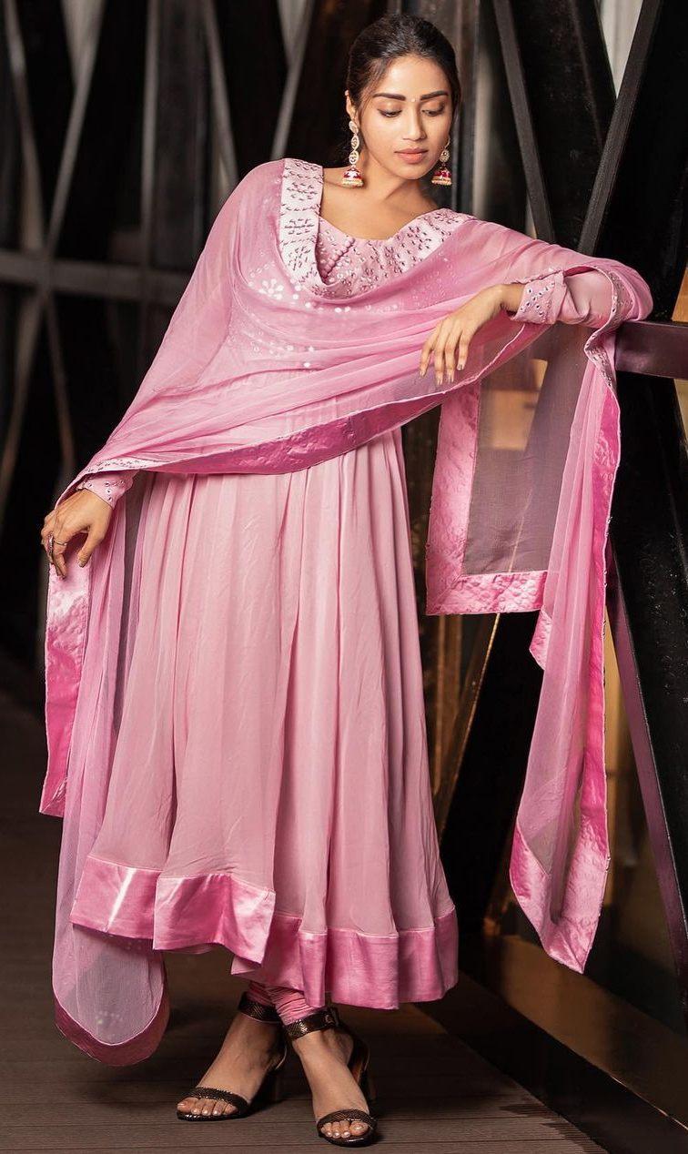 Nivetha Pethuraj in baby pink anarkali by indishree label1