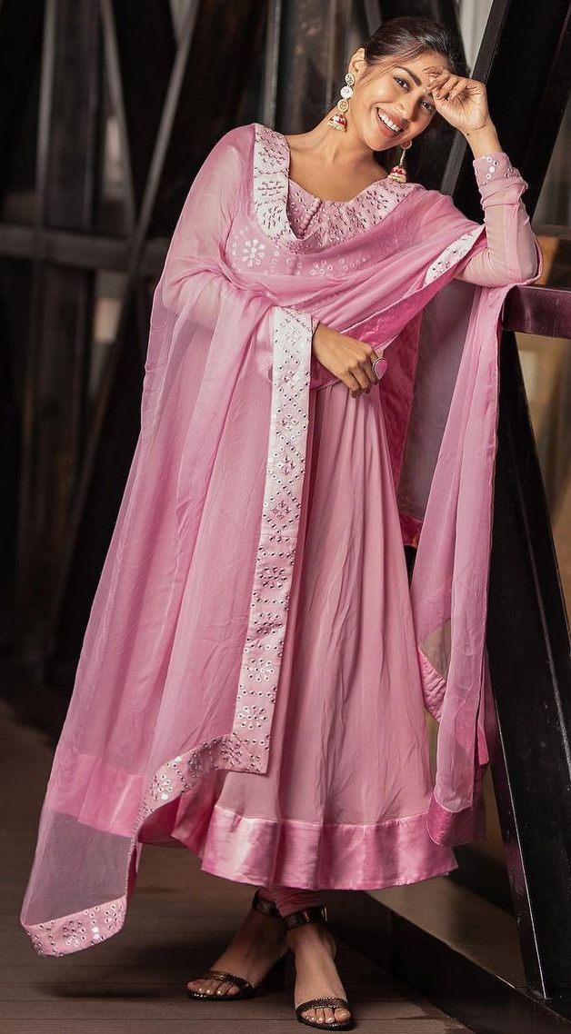 Nivetha Pethuraj in baby pink anarkali by indishree label3
