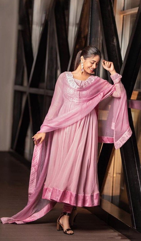 Nivetha Pethuraj in baby pink anarkali by indishree label5