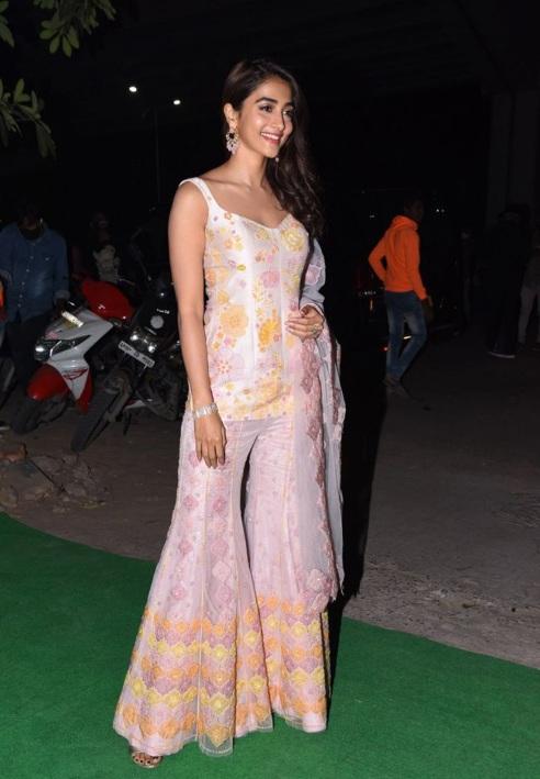 Pooja Hegde in a sharara suit at Ala Vaikunthapurramuloo Reunion Bash! (2)