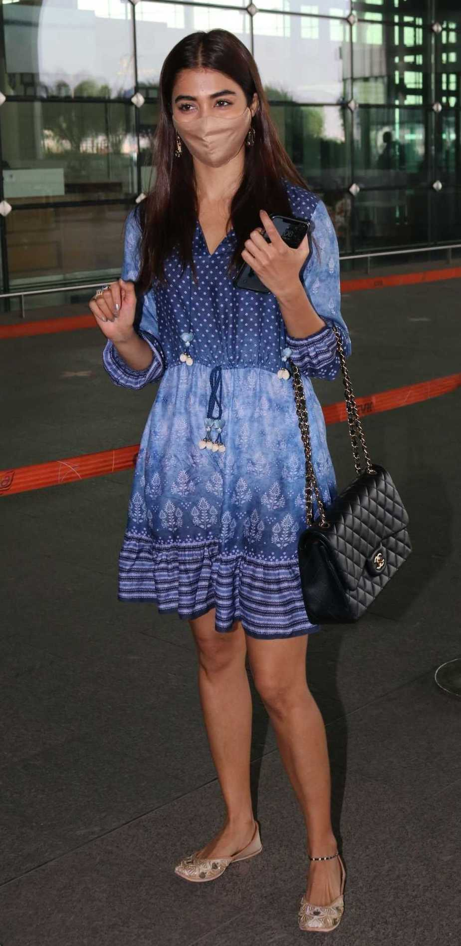 Pooja Hegde in an Anita dongre dress at the Hyderabad airport