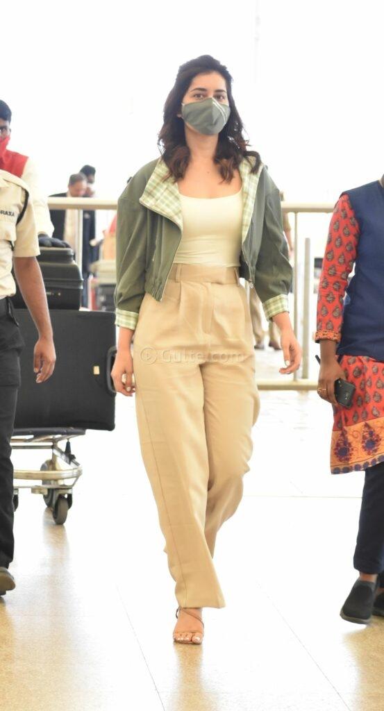 Raashi Khanna in khakhi pants sea weed green jacket at RGI