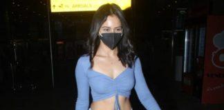 Rakul Preet in blue crop top and denim at Mumbai airport