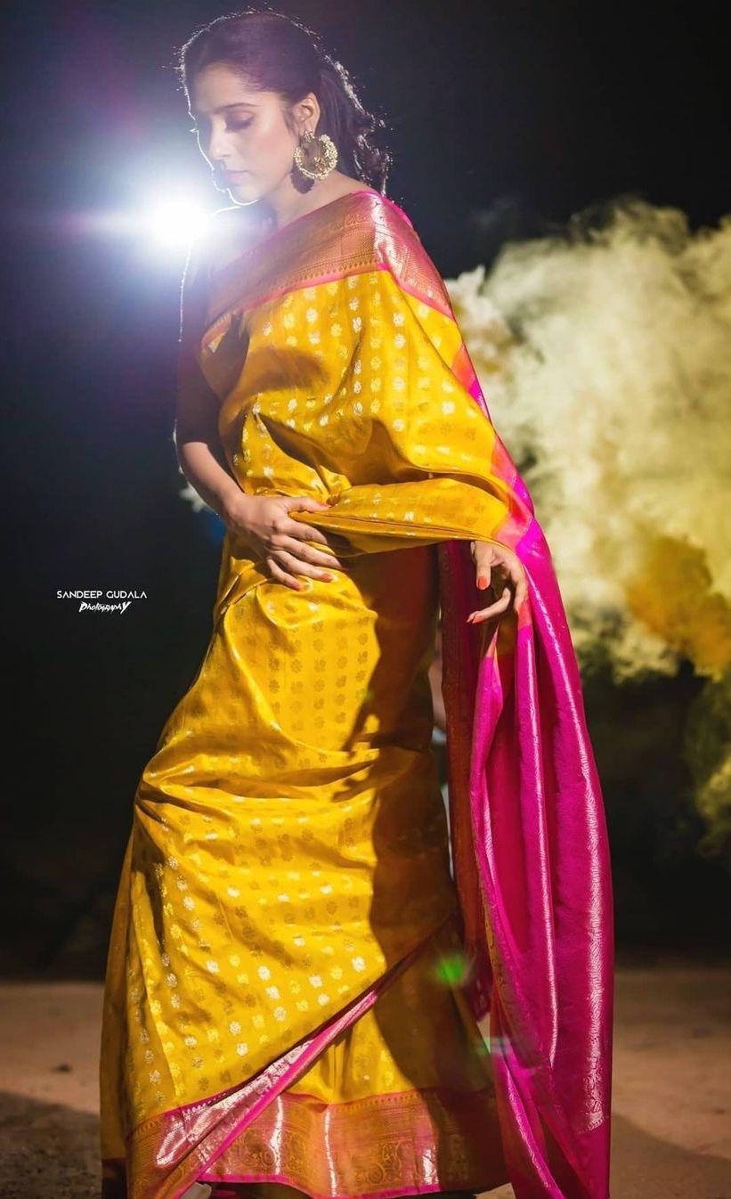 Rashmi gautam in yellow pink pattu saree by rr designs