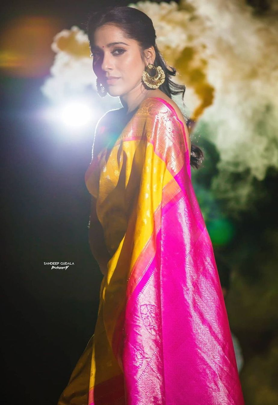 Rashmi gautam in yellow pink pattu saree by rr designs1