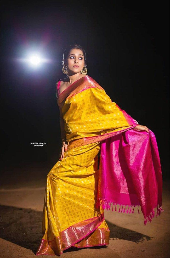 Rashmi gautam in yellow pink pattu saree by rr designs2