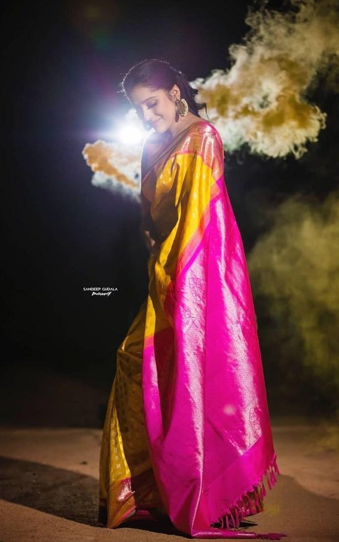 Rashmi gautam in yellow pink pattu saree by rr designs3
