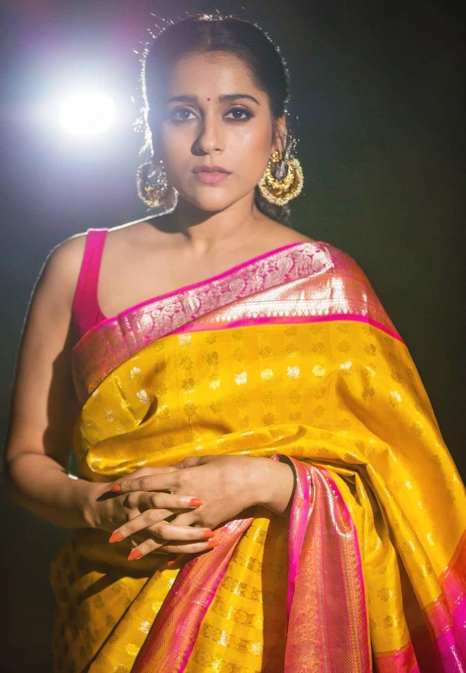 Rashmi gautam in yellow pink pattu saree by rr designs4