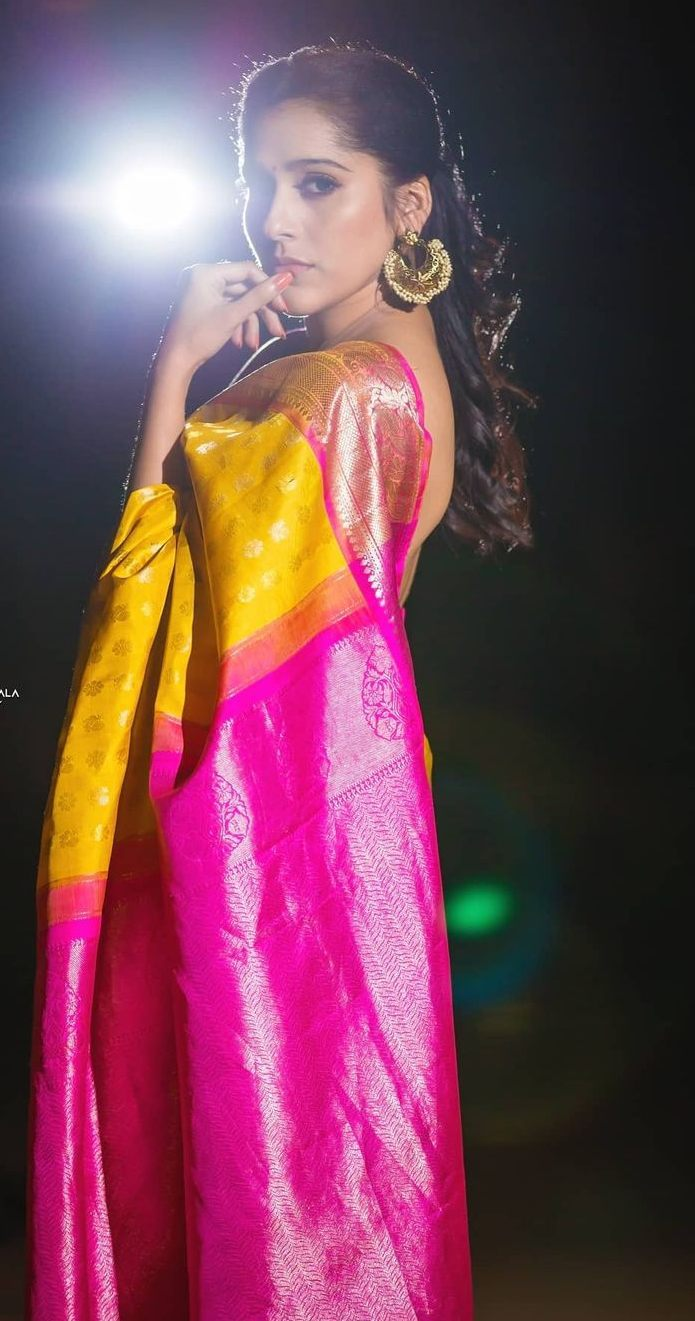 Rashmi gautam in yellow pink pattu saree by rr designs5