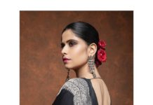 Sai Tamhankar in a black saree by mint n oranges